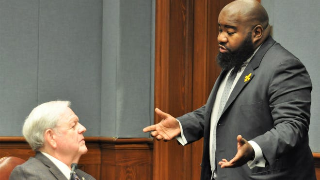 Rep. Marcus Hunter, D-Monroe, debates with Rep. Bubba Chaney, R-Rayville, after a contentious hours-long debate on Hunter's House Bill 533 to enforce stricter water quality standards. Chaney brought an amendment limiting the bill's application only to St. Joseph in Tensas Parish, hobbling its effectiveness and cutting out Hunter's own district in Ouachita Parish.