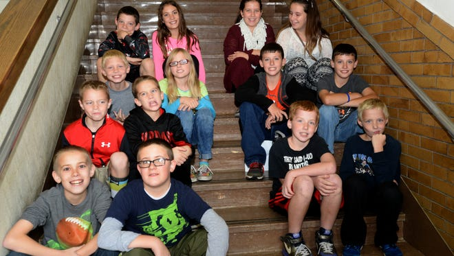 There are seven sets of twins attending Centerville Elementary School. Top left, Chase Cates and Marissa Cates. Top right, Clayre Rader and Kendyl Rader. Second left, Kyle Lewis and Madison Lewis. Second right, Kollin Davis and Preston Davis. Third left, Alec Erbse and Jake Erbse. Third right, Levi Bennett and Hunter Bennett. Bottom left, Sam Warner and Ben Warner.