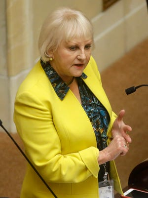 Sen. Karen Mayne, a Democrat from West Valley City, speaks on the Senate Floor at the Utah State Capitol in Salt Lake City on March 2. Mayne criticized members of the state liquor board last month after hearing reports of low morale and high turnover rates among employees at the state's 44 liquor stores.