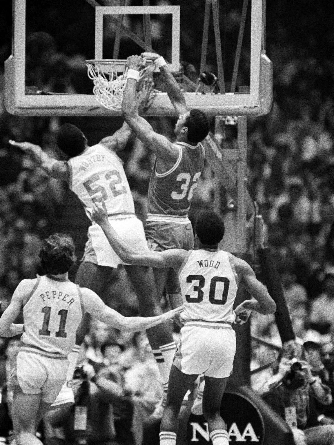 Indiana's Landon Turner dunks on North Carolina in the 1981 NCAA Championship game in Philadelphia. Turner's late-season resurgence fueled the Hoosiers' title run.