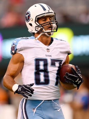 Titans wide receiver Eric Decker (87) races up the field after a catch during warmups before the preseason game at MetLife Stadium Saturday, Aug. 12, 2017 in East Rutherford, N.J..