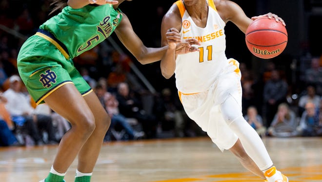 Notre DameÕs Jackie Young (5) defends against University of TennesseeÕs Diamond DeShields (11) during a game between University of Tennessee and Notre Dame University at Thompson-Boling Arena in Knoxville, Tennessee on Monday, January 16, 2017.