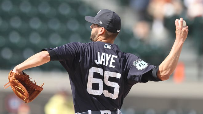 Tigers pitcher Myles Jaye pitches during the Tigers' exhibition win over Florida Southern, 8-0, on Feb. 23, 2017, at Publix Field at Joker Marchant Stadium.