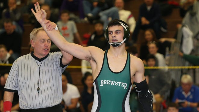 Brewster's Grant Cuomo defeats Eastchester's Steven Bilali in the 170-pound match at the Section 1, Division 1 wrestling finals at Clarkstown High School South in West Nyack on Sunday, February 11, 2018.