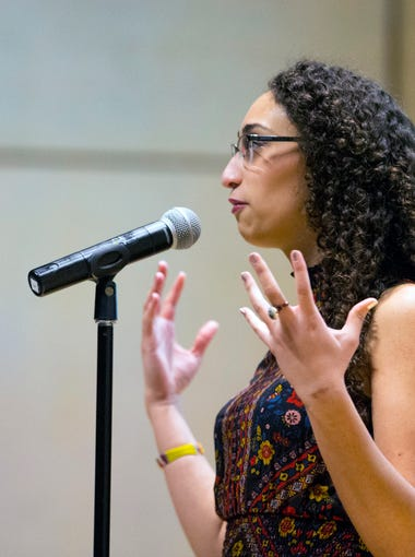 """Storyteller Melissa Dunmore participates in the Whole Story, the first in a series of storytelling events designed to highlight the black community. Dunmore delivered her story """"Mane Stay"""" at the Phoenix Art Museum on Jan. 6, 2017."""