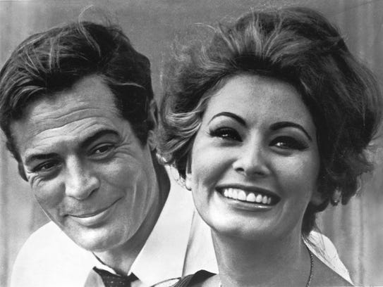 Actors Marcello Mastroianni, left and Sophia Loren,
