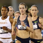 Molly Huddle leads the pack on her way to a win in the women's 5,000 meters on June 27, 2014 at the USA Track and Field Outdoor Championships in Sacramento, Calif.