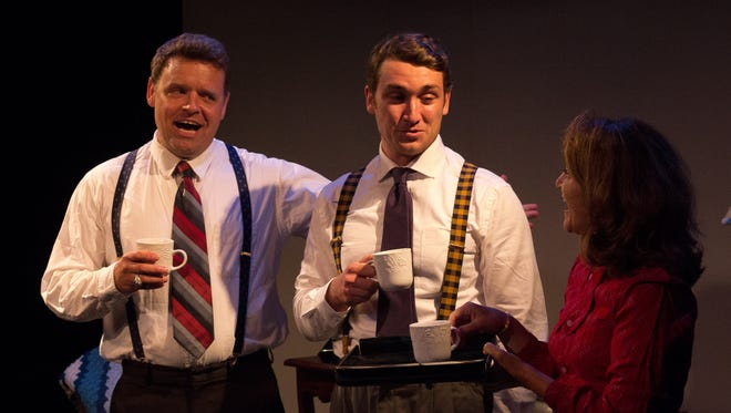 """Terry Loveman, left, plays Sen. Lester Hunt, D-Wyo., in the play """"Hunt,'' and Brice Guerriere, center, plays Hunt's gay son Buddy. Suzanne Martin plays Hunt's wife, Nathelle."""