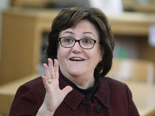 New York State Commissioner of Education MaryEllen Elia meets with area teachers at White Plains High School March 14, 2016. She was also scheduled to meet with parents and school board members after the meeting with the teachers.