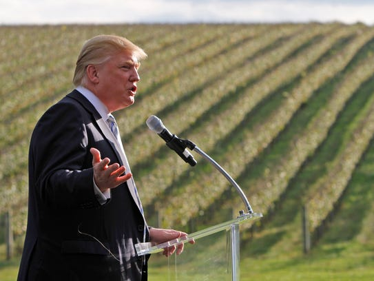 Donald Trump talks in front of rows of grapevines during