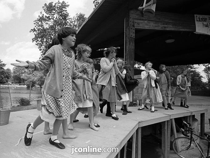 """Lisa Tye, left, took a chance on her acting ability while auditioning for the musical """"Annie"""" at Columbian Park. Photo taken July 7, 1984."""