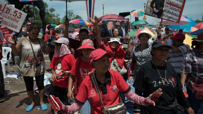 Pro-government 'Red shirts' are seen during ongoing rallies on the outskirts of Bangkok on May 20.