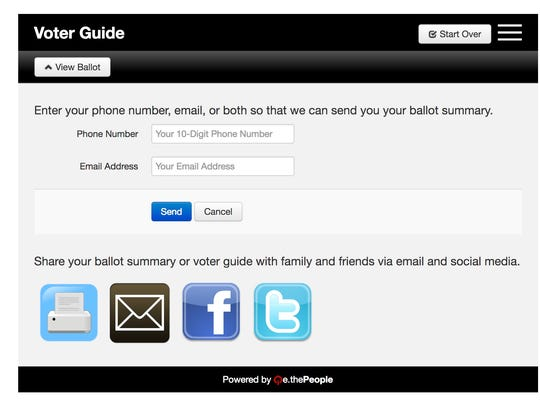 Send your ballot summary to your phone or email.