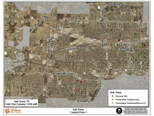 This map shows the locations of every ash tree managed