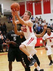 Taking it to the rack during a recent game is Canton's
