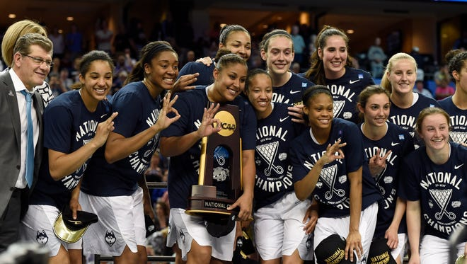 Connecticut celebrates its third straight national title and 10th overall.