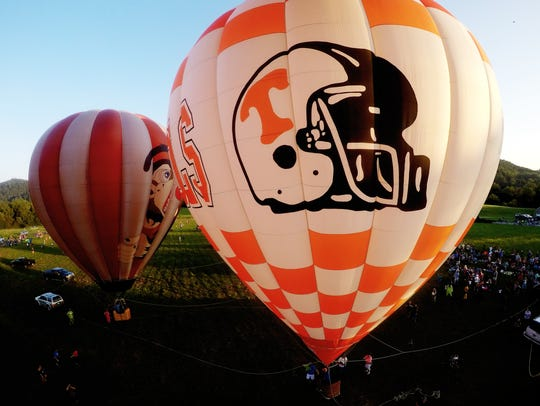 A Tennessee Football hot air balloon is seen during