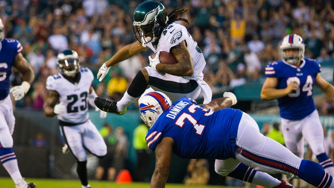 Eagles cornerback Ronald Darby, shown on an interception return against Buffalo during the preseason, is returning after missing the previous eight games with a dislocated ankle.