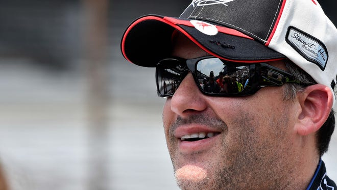 NASCAR Sprint Cup Series driver Tony Stewart during qualifying for the Crown Royal 400 at Indianapolis Motor Speedway.