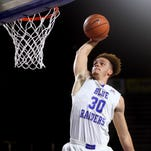 MTSU's Reggie Upshaw Jr. dunks the ball during an exhibition game against Faulkner on Nov. 12.