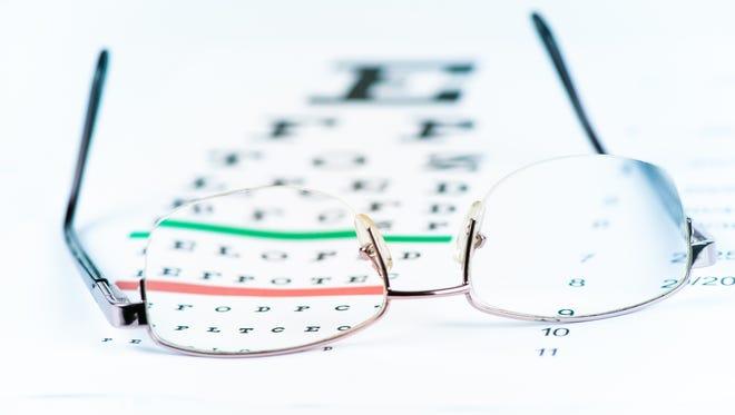 Glasses and eye chart.