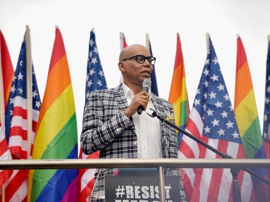 RuPaul speaks at the LA Pride Resist March on June 11, 2017 in West Hollywood, California.