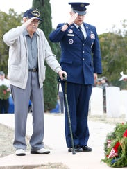 Retired Able-Bodied Seaman Cliff Beck, left, of the