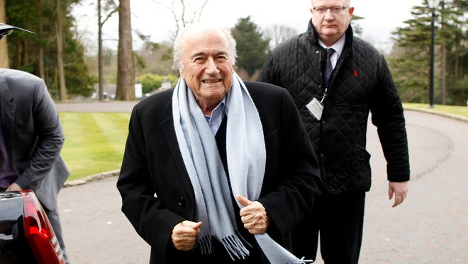 President of FIFA Sepp Blatter arrives at the Culloden Hotel, Belfast, Northern Ireland, Feb. 27, 2015.