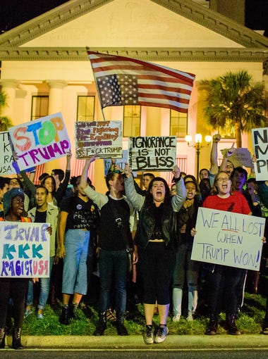 Students for a Democratic Society hosts a community protest against the recent election of Donald J. Trump as President-elect of the United States on Wed., Nov. 09, 2016 at the Florida State Capitol in Tallahassee, FL.