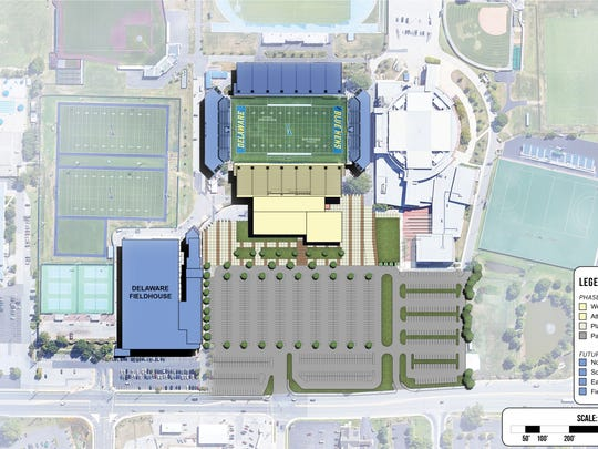 An HNTB Architecture rendering of the refurbished Delaware Stadium complex with new press box and luxury seats/suite area above athletic performance center.