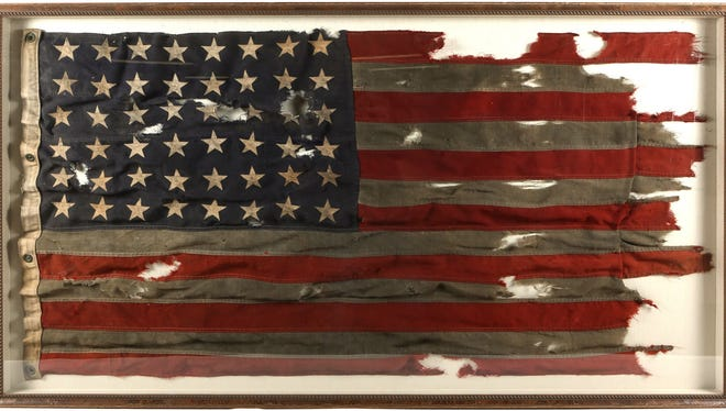 A tattered American flag flown on-board LCT 530 (Landing Craft Tank) during WWII D-day is being auctioned off this week. The flag took part in Utah Beach Operations during the invasion of Normandy on D-Day.