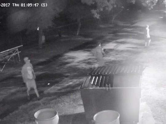 Surveillance image of individuals Buena Vista Township officials say they think are responsible for vandalism at Michael Debbi Park.