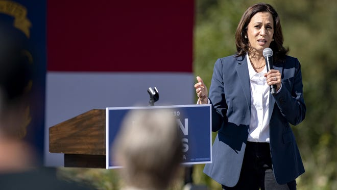 Sen. Kamala Harris, Democratic presidential candidate Joe Biden's running mate, addresses supporters at a small event on the campus of UNC Asheville Wednesday.