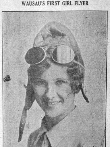 "July 19, 1928 - This week in 1928, Leona Torzewski became Wausau's first female pilot after taking free instructions offered by the Hall Aircraft Company. ""Scared? No. I didn't feel the slightest thrill the first time I flew. I guess I was disappointed because it seemed so ordinary,"" said Torzewski."