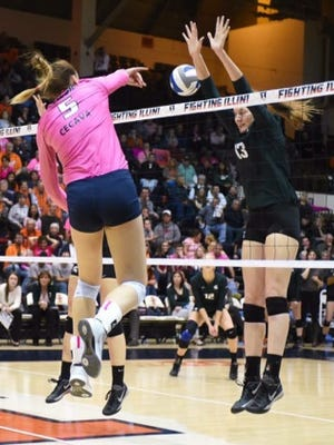 Alison Bastianelli goes for a kill this season while playing for the University of Illinois