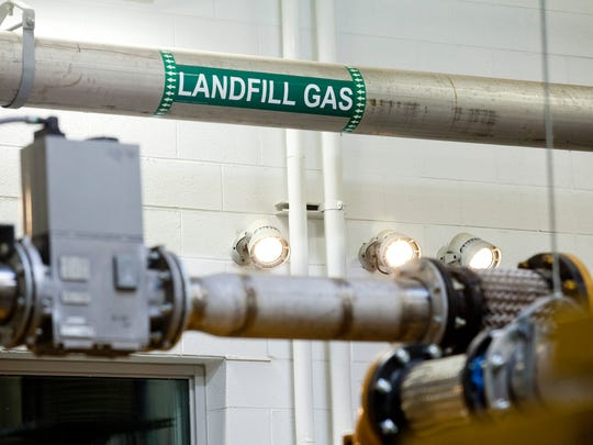 Methane gas runs to a generator at the St. Clair County Landfill bioreactor in Kimball Township.