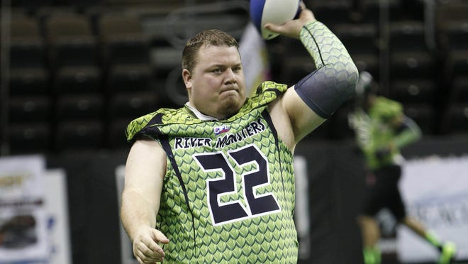 2/9/14 2:02:29 PM -- Highland Heights, KY, U.S.A; Jared Lorenzen quarterback for the Northern Kentucky River Monsters during pre game warm up. Mandatory Credit: Frank Victores -USA TODAY Sports, Gannett ORG XMIT:  US 130659 Lorenzen 2/9/2014 [Via MerlinFTP Drop]