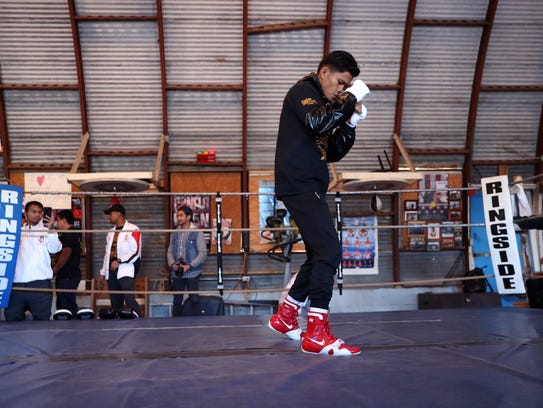 Jerwin Ancajas, of the Philippines, works out Tuesday,