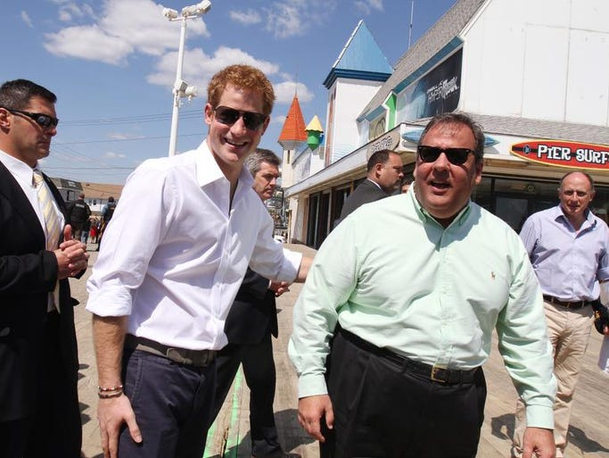 Prince Harry and Gov. Chris Christie greet local heroes during Prince Harry's tour of the Sandy damage on the Seaside Heights and Casino Pier Tuesday May 14.
