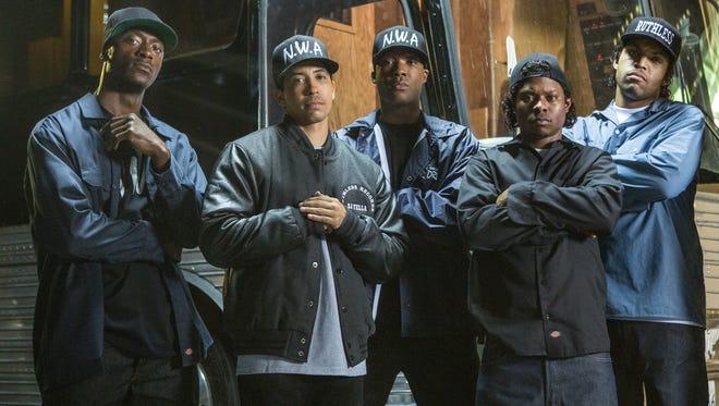 The film's own N.W.A., from left: MC Ren (Aldis Hodge), DJ Yella (Neil Brown Jr.), Dr Dre (Corey Hawkins), Eazy-E (Jason Mitchell) and Ice Cube (O'Shea Jackson Jr.).