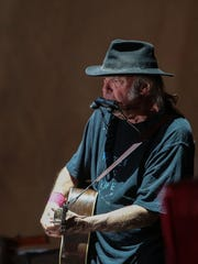 Neil Young performs on the 2nd night of Desert Trip on Saturday, October 8, 2016 at the Empire Polo Club in Indio.