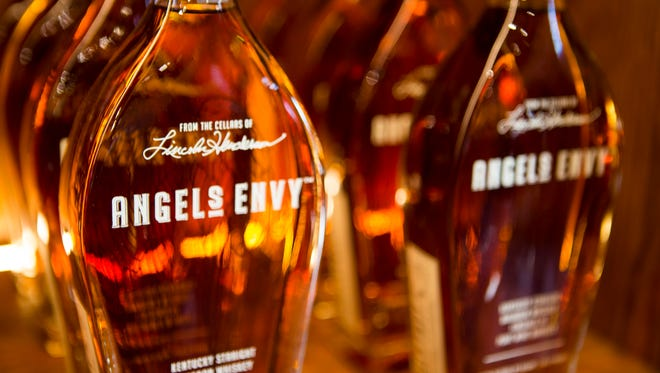 Bottles of Angel's Envy, aged in port wine barrels, at the newly opened Angel's Envy distillery in downtown Louisville. Nov. 16, 2016