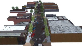 A rendering of the the street-scaping planned for Main Street in Fortville.