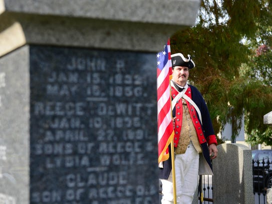 The Sons of the American Revolution, Caesar Rodney Chapter, holds a grave marking and memorial service for local Revolutionary War patriots on Saturday, Nov. 4 in Lewes, Del.