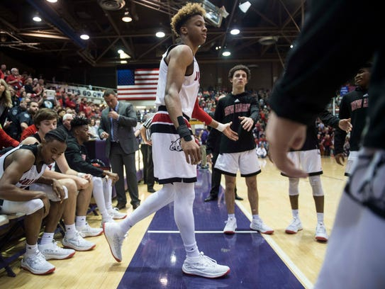 New Albany's Romeo Langford (1) is introduced before