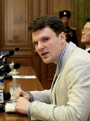 University of Virginia student and Wyoming, Ohio, native Otto Warmbier was presented to reporters Feb. 29, 2016, in Pyongyang.