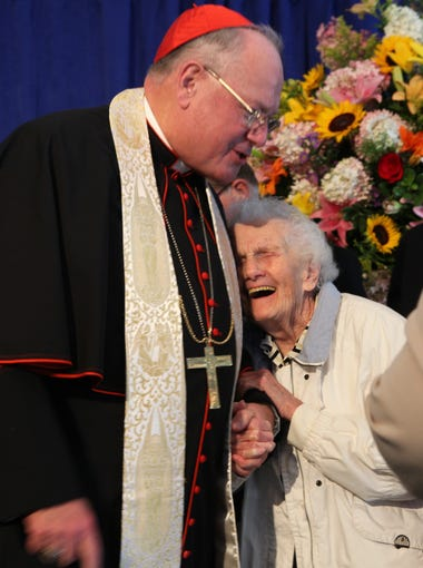 Cardinal Dolan hugs Sister M. Angelica Doris during the Cardinal's visit to the Good Samaritan Hospital in Suffern Sept. 22, 2014. He was there to bless the hospital.