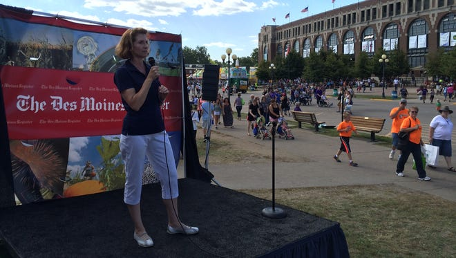 State Auditor Mary Mosiman speaks from the Des Moines Register Political Soapbox at the Iowa State Fair.