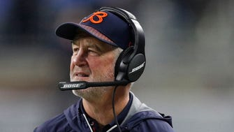 Chicago Bears head coach John Fox looks on during the second quarter against the Detroit Lions at Ford Field.