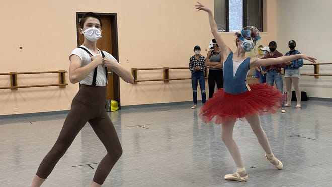 """Max Hayward (as Peter) and Allison Pellegrino (Bird) rehearse for Canton Ballet's """"Peter and the Wolf."""""""
